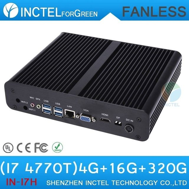 New Industrial Fanless Mini PC Computer i7 with Intel Quad Core i7 4770T 2.5Ghz CPU HDMI VGA