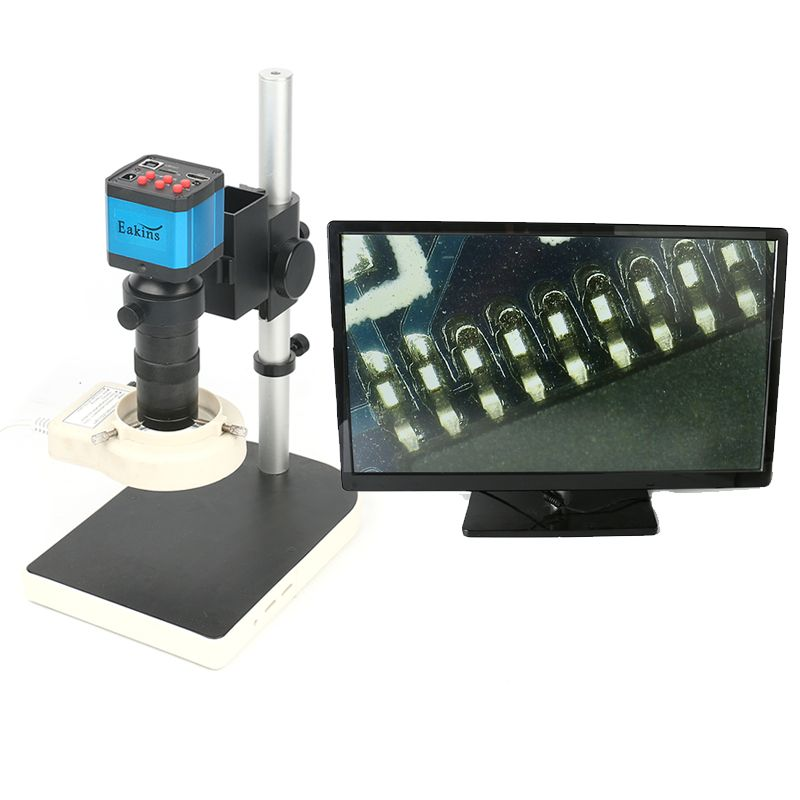 21MP CMOS HDMI Microscope Camera For Industry Lab PCB USB Output TF Card Video Recorder + C-mount Lens + 144 LED Lamp + Stand