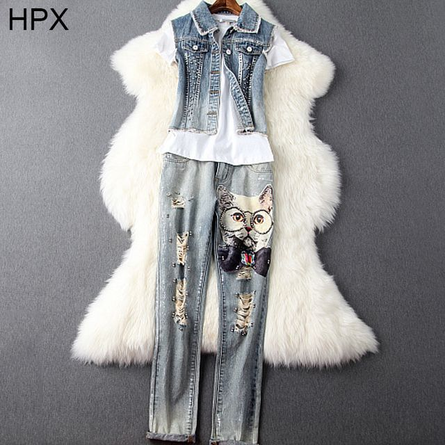 Young Blue Denim Owl Beaded Jacket Top and Hole Jeans Pants and T-shirt 3 pcs Clothing Sets 2016 new Ladies Fashion Brand Suit