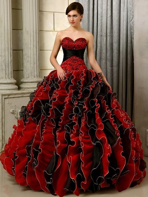 2016 Poofy Princess Vintage  Black And Red  Sweetheart Ruffles Embroidery Organza Beaded Girls Sweet 15 16 Quinceanera Dresses