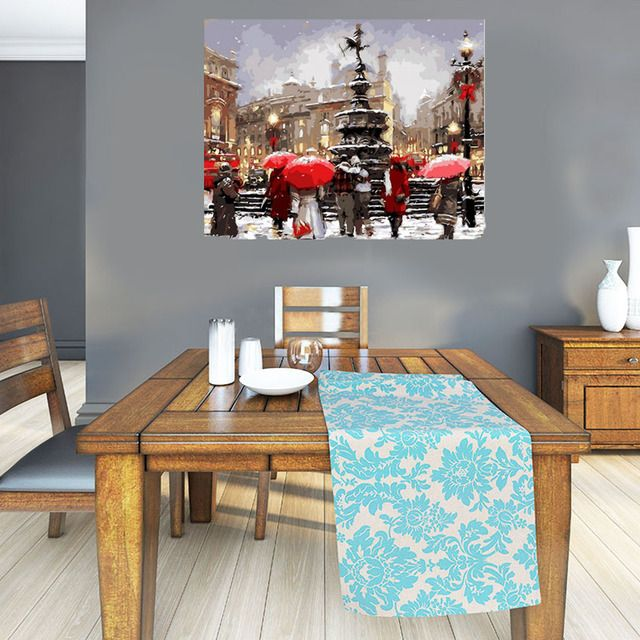 Prague Square Painting By Numbers Wall Art  For Living Room Christmas gift Artwork Coloring By Number Winter Snow Poster