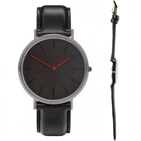 black bands black watch case. red hours hands man and women classic watch design no marks relojes