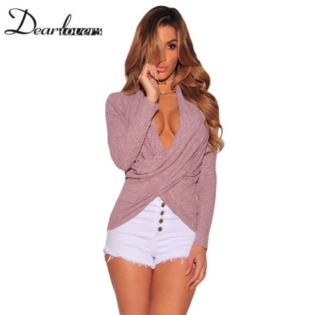 Dear lover Rib Crossover Arched Hem Women Long Sleeve Tshirt Top Mujer Sexy V neck Ladies Autumn Office Tops For Work LC25924