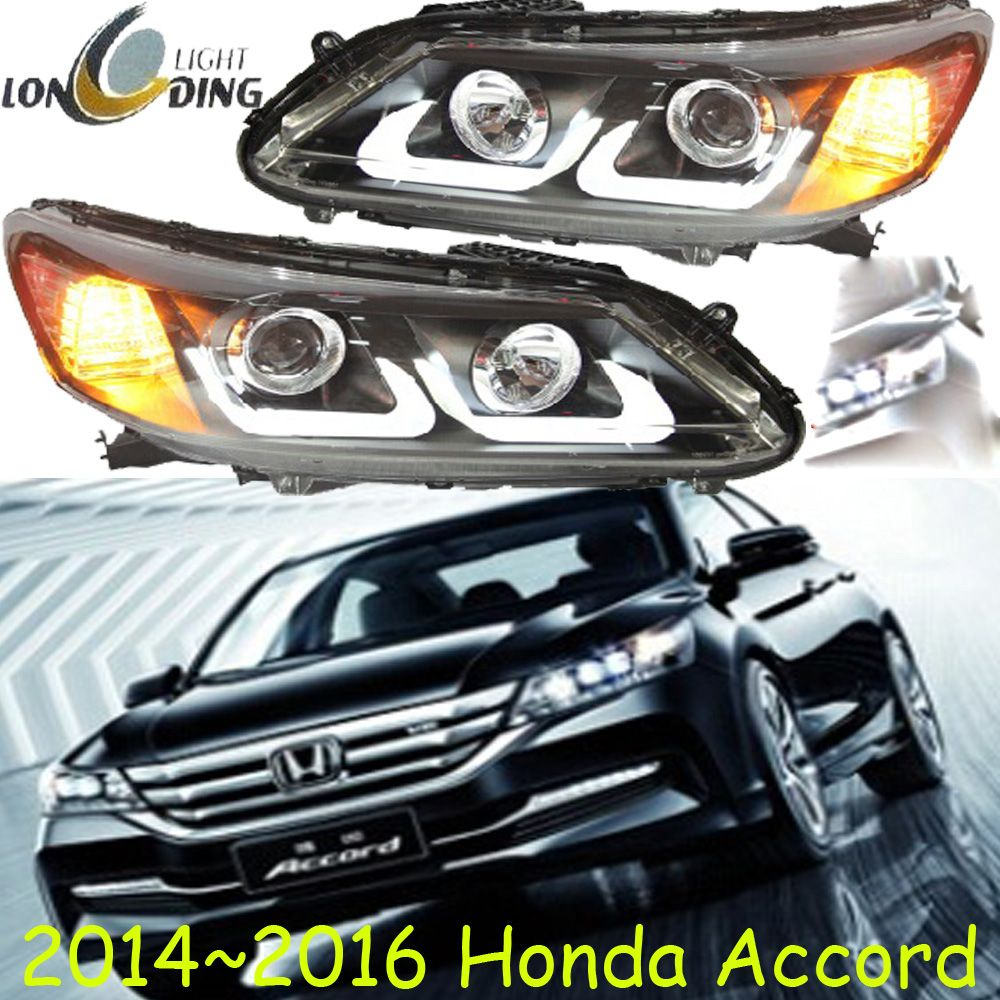 one set Car Styling for Honda Accord Headlights 2013~2015 Accord 9th Headlight DRL Bi Xenon Lens High Low Beam Parking