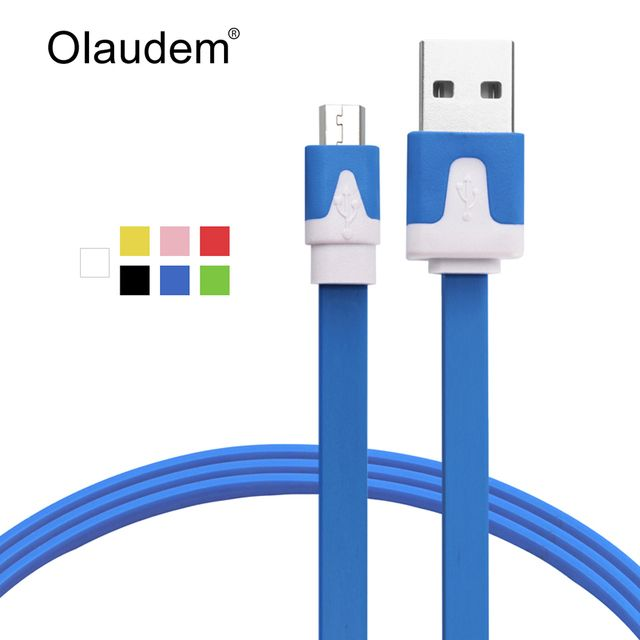 USB Cable Micro USB 2.0 Cable Sync Charging Flat Noodle Mobile Phone Cables For Android Samsung Huawei Xiaomi HTC LG USBC118