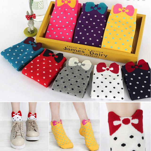 Hot Women Socks Casual 11 Colors 100% Cotton 10 Pieces=5 pairs=1 Lot Dot Multicolor Fashion Socks