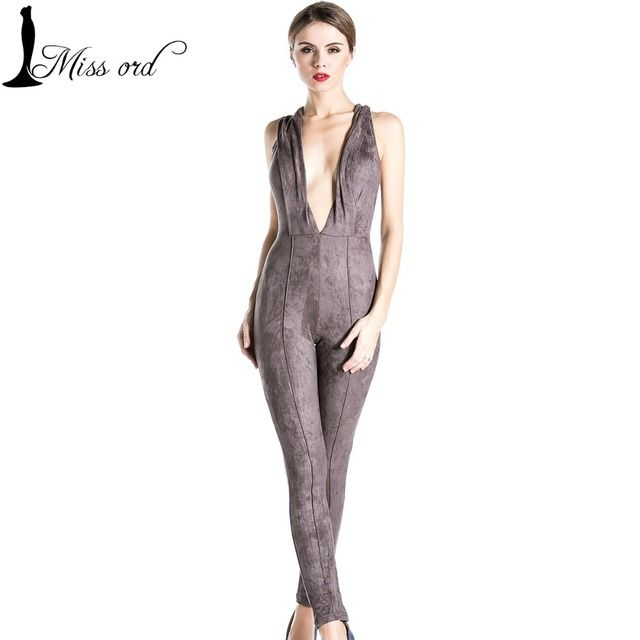 Free Shipping  Missord 2017 Sexy suede sleeveless deep v romper JUMPSUITS FT3541