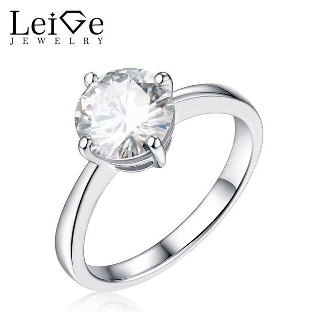 Leige Jewelry Solitaire Moissanite Wedding Rings for Women Round Cut 925 Silver Jewelry Silver Anniversary Rings Christmas Gift