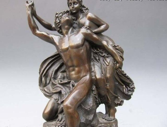 Gloria Victti Angel And Nude Man Painted Bronze Statue