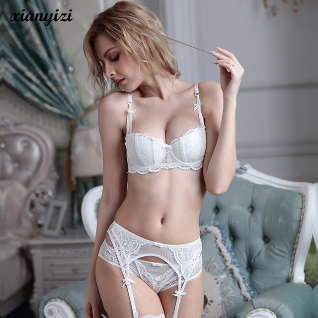 2017 new Design Bra+Panties+Garter 34-38 ABCD Lace sexy bra cup Suspenders belt and bras and panties women underwear bra set ABC