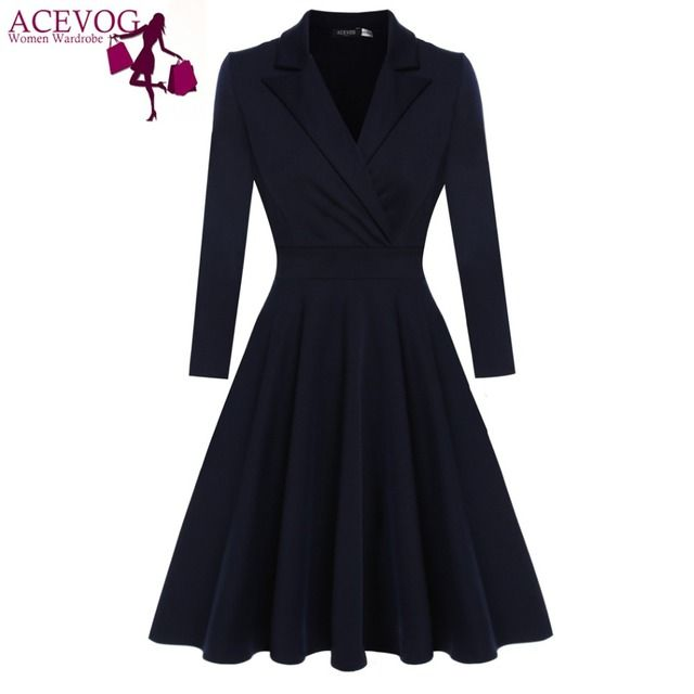 Acevog Women Casual Dress Vestido De Festa Autumn Winter Elegant Party Dresses Vintage Retro Lady Big Swing Dresses S, M, L, Xl