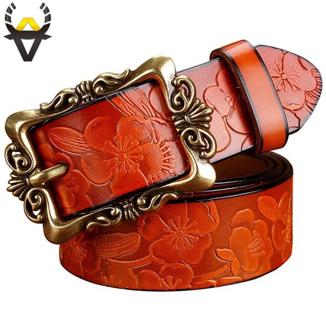 Fashion Wide Genuine leather belt woman vintage Floral Second Layer Cow skin belts for women Top quality strap female for jeans