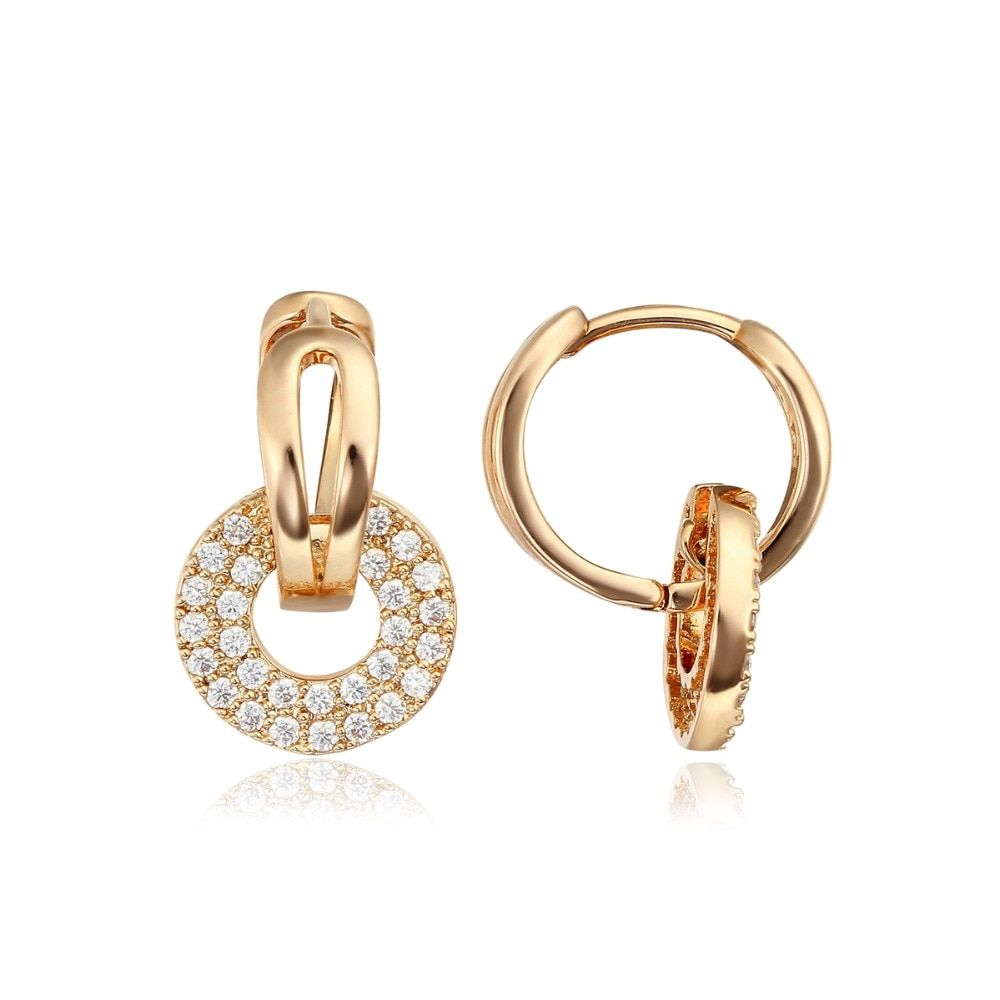 Yellow or Rose Gold Color Circle Paved Zircon CZ Stone Loop Huggies Small Hoop Earrings for Women Jewelry Aros oorbellen Aretes
