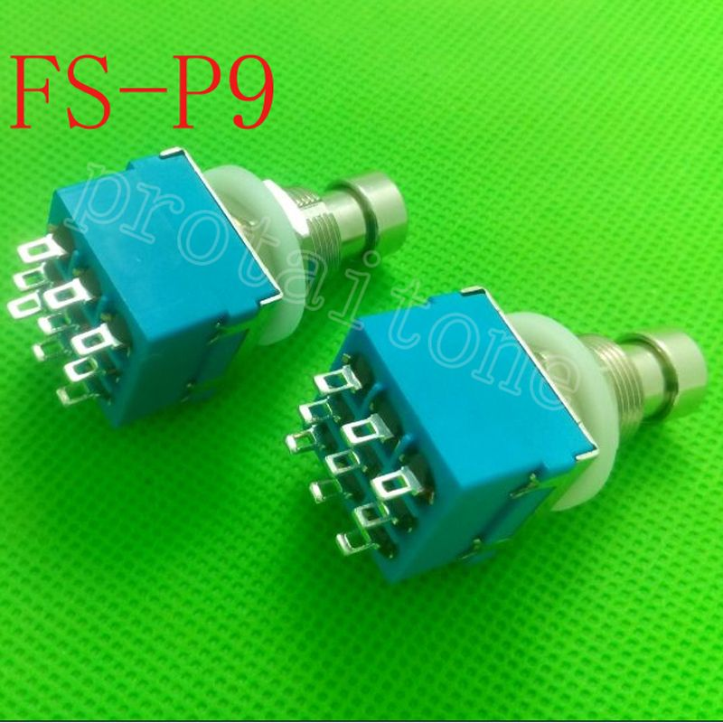 50 pcs/Lot 9-pin 3PDT Guitar Effects Pedal Box Stomp Foot Metal Switch True Bypass free shipping