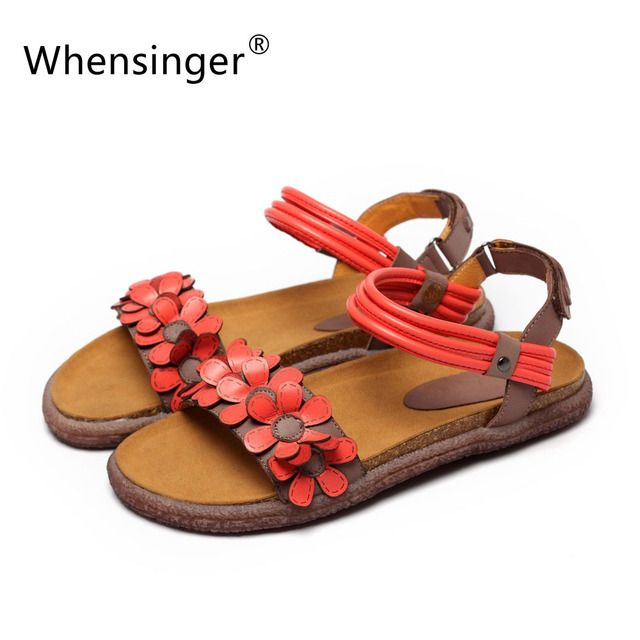 Whensinger - 2018 Women Sandals Female Gladiator Genuine Leather Shoes Beach Soft Rome Ethnic Sewing Fashion L1668