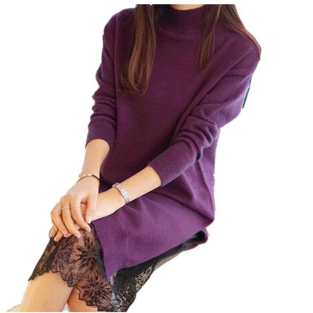 2016 Fashion New Winter Women Long Lace Dress Casual Warm Knitted Bottoming Stand Collar Pullovers Sweater Dresses WY369