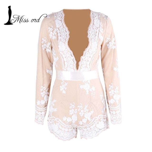Free Shipping Missord 2016 Sexy Deep-V Long sleeve flowers sequin playsuit FT3763