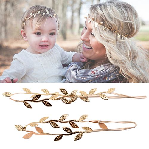 2016 New Mommy And Me Gilding Leaf Headband Peace Olive Branch Baby Girl Cute Hairband 4RT