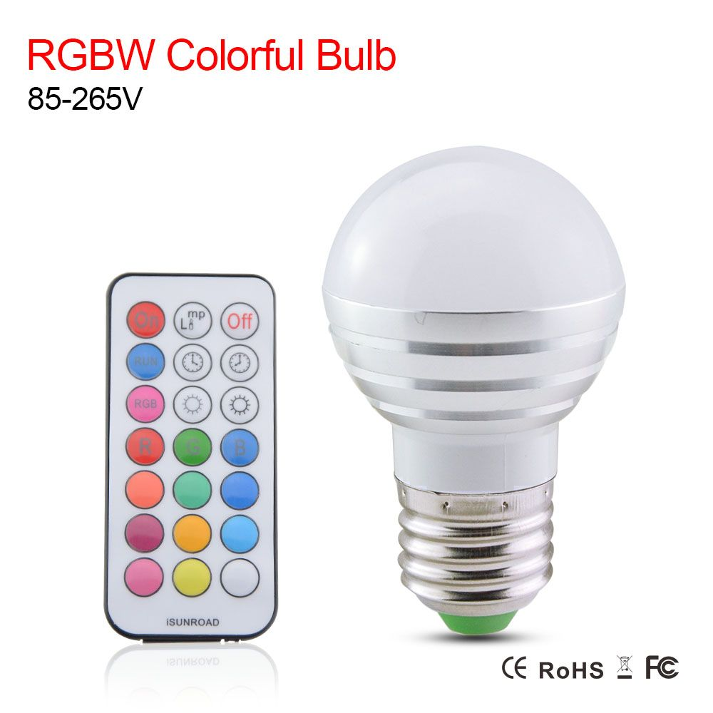 RGBW Led Bulb Lamp E27 Light Bulbs AC 110V 220V 5W RGB Spotlight Magic Color Holiday Bulb Lighting LED Remote Controller
