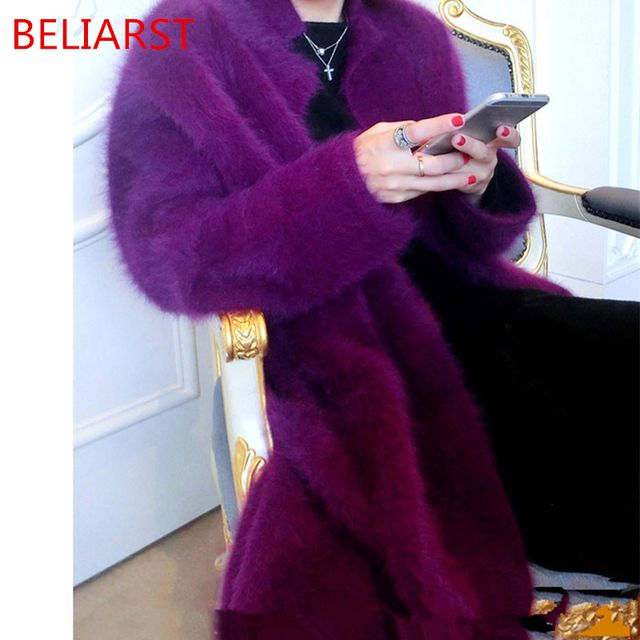 BELIARST 2017 Autumn And Winter New Boutique Mink Coat Mink Cashmere Cardigan Sweater Female Long Coat Thickened mandarin collar