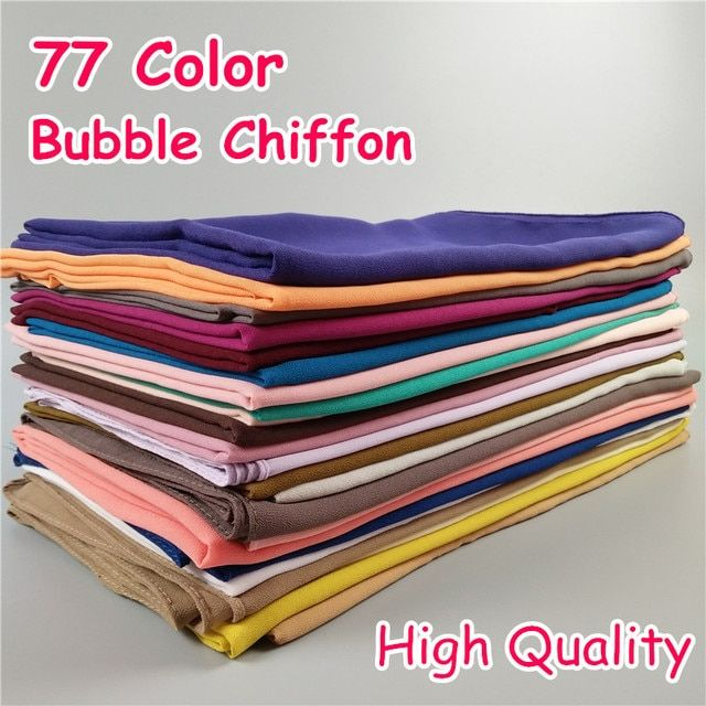 HOT 77 Color High Quality Plain bubble chiffon classic solid color shawls islam headband hijab beach cover muslim scarf/scarves