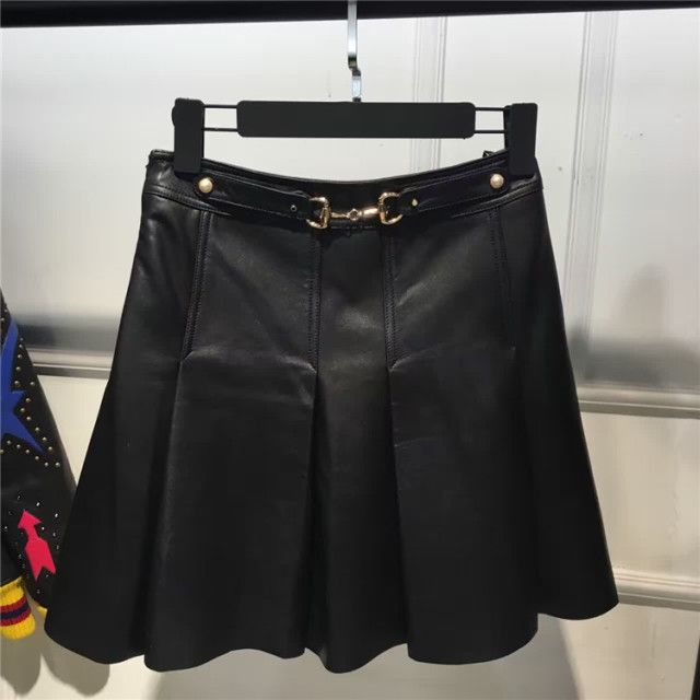 beading ladies real leather skirt women genuine sheep leather skirt