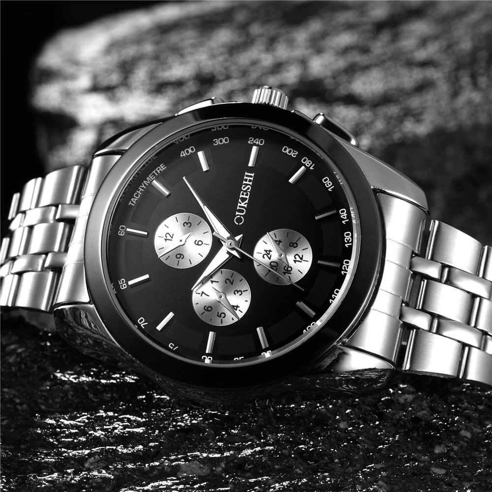 OUKESHI Brand Business Watch Men Silver Stainless Steel Three-Eyes Analog Quartz Casual Watch Fashion Man Watches Montre Homme