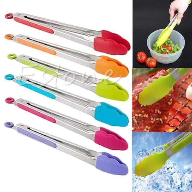 for vip customers Kitchen Cooking Salad Serving BBQ Tongs Stainless Steel Handle Utensil