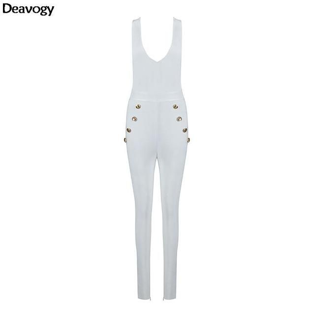 Deavogy 2016 Autumn New White V Neck Strap Botton Bodycon Stretch Sexy Rompers Womens Jumpsuit Hot Sale Dropship H2574