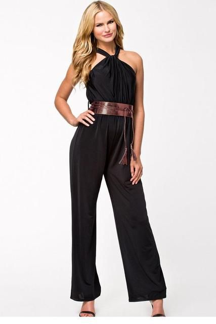 High Quality 2016 Summer Black Ladies Halter Neck Jumpsuit Long Wide Leg Romper Sexy Womens Clothing with Belt