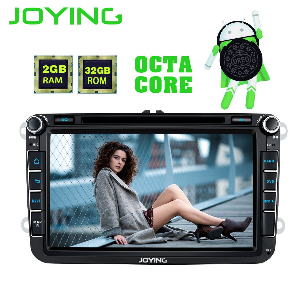 JOYING 8 CORE 2GB RAM Android 8.0 autoradio stereo carplay GPS head unit for VW GOLF/PASSAT DVD player for SKODA SuperB Octivia