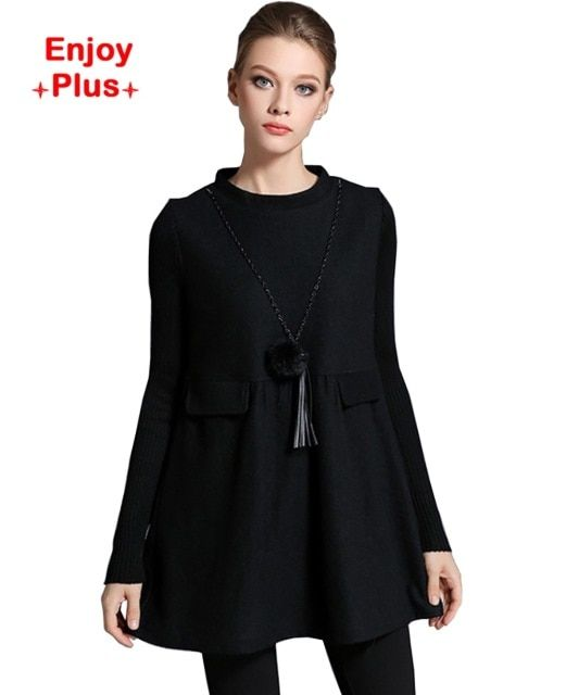 ENJOY PLUS 7%OFF chest 98-118cm XL - 5XL fall 2016 woolen black long sleeve blouse women winter plus size shirt brand elegants