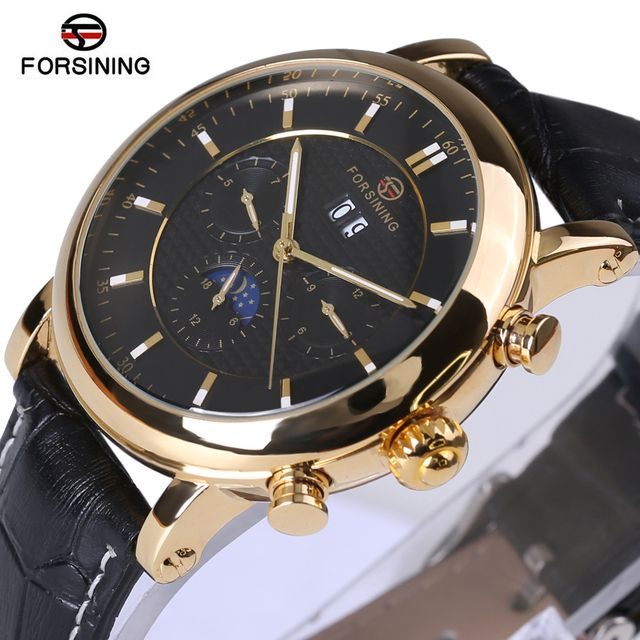 Forsining Men Watch Top Brand Luxury Automatic Male Wrist Watch 2018 Luxury Rose Golden Series Moon Phase Calendar Design Clock