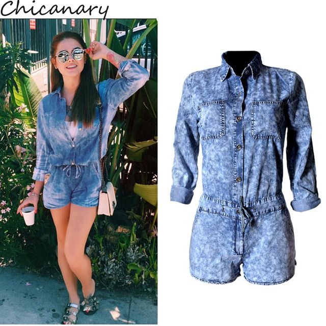 Chicanary Women's Fashion High Waist Snowflake Print Long Sleeve Denim Jumpsuit Romper Shorts Playsuit Overalls Plus Size