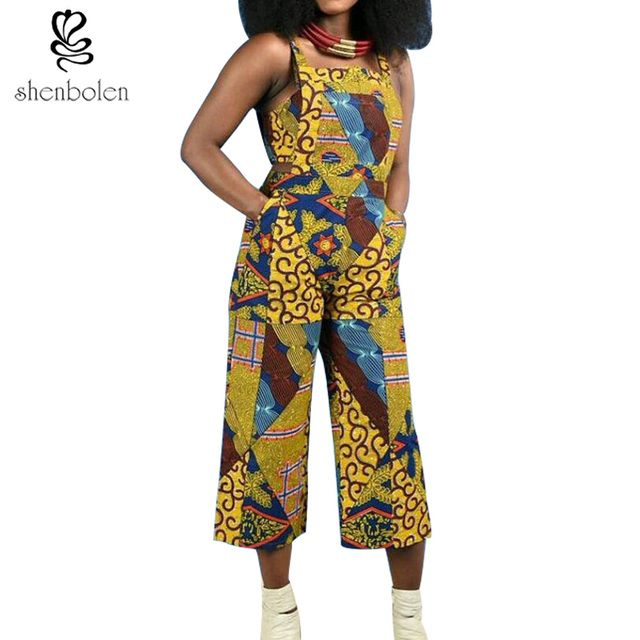 2017 summer batik print fabric Jumpsuit Women suspender pants Bandage Romper african clothing sleeveless jumper pure cotton