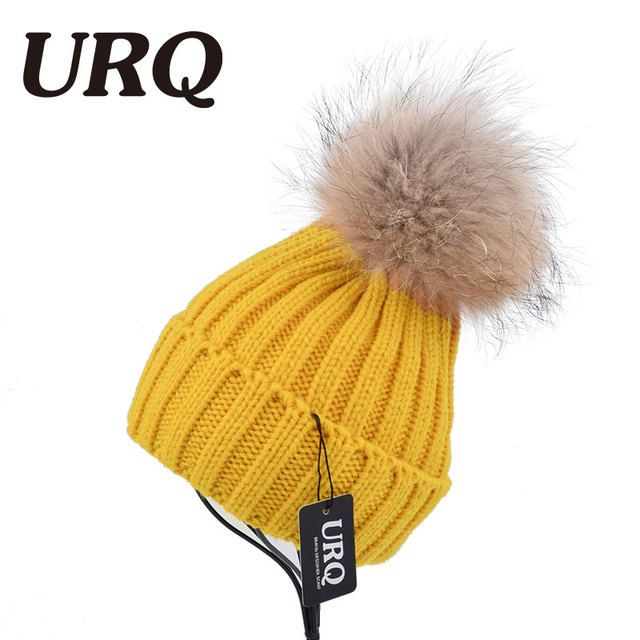 winter warm cap for women real raccoon fur Acrylic cap soft light classic caps hat adult hot sale casual solid pom pom 1001