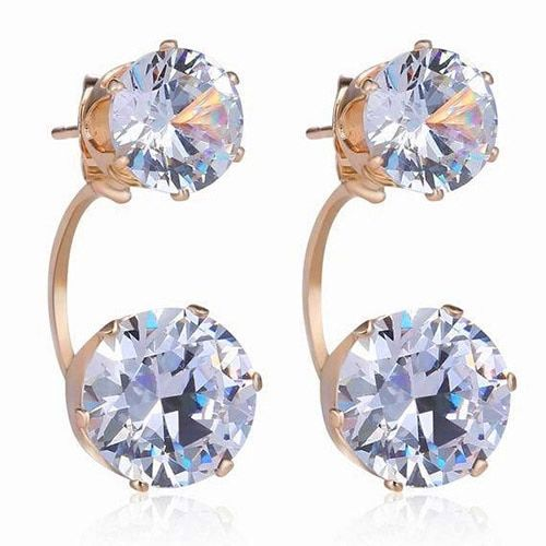 Women Fashion Drop Ear Studs Jewelry Double Rhinestone Ear Jacket Earrings Gift BEC7