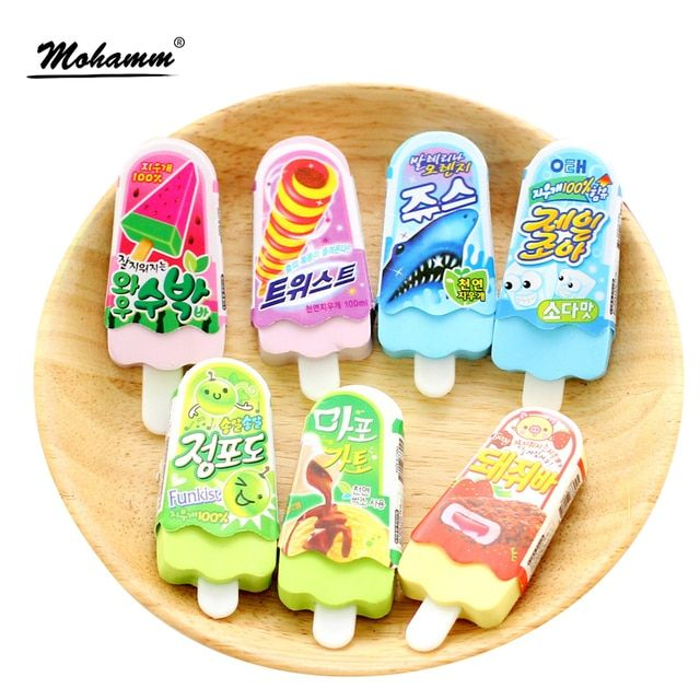 Cute Kawaii Erasers Ice Cream 3d Pencil Eraser For Kids School Supplies