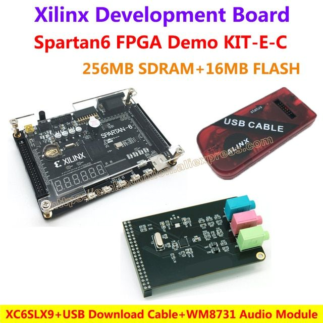 FPGA Demo Board Xilinx Spartan6 XC6SLX9(256M SDRAM EEPROM FLASH)+WM8731 Audio Module+USB Download Cable=Spartan6 XC6SLX9 KIT-E-C