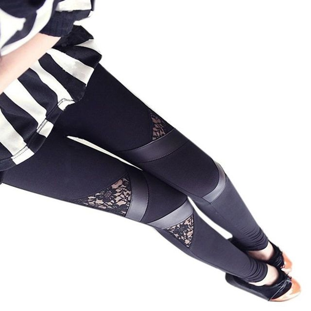 New Sexy Women Slim Embroidered Lace Stretch Leggings Pencil Pants Skinny female Capris Trousers free size