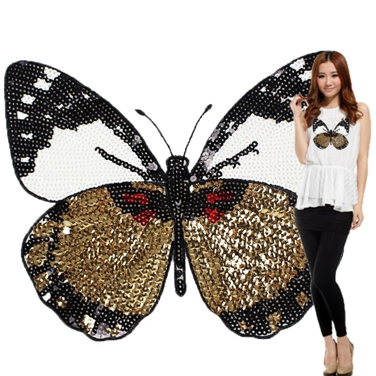 Fashion Large Butterfly Patch T-shirt Pants Sequins Ironning On Patch Sewing Holes Applique Clothes Accessories Decorative