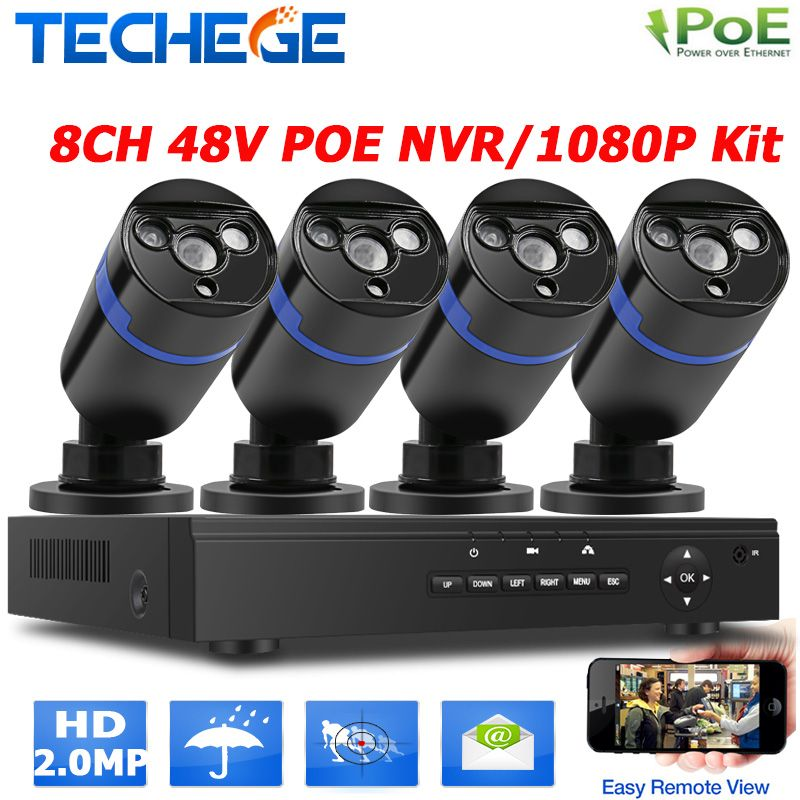 2.0MP outdoor CCTV system 48V 8ch POE NVR 4pcs 2MP IP camera array leds night vision outdoor street/home video surveillance kit