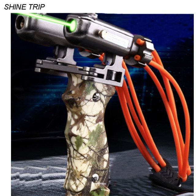 SHINE TRIP Green laser hunting slingshot hound police dog sling shot infrared target aiming prey sling bow with wrist rest