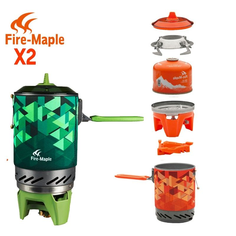 FMS-X2 X3 Fire Maple compact One-Piece Camping Stove Heat Exchanger Pot camping equipment set Flash Personal Cooking System