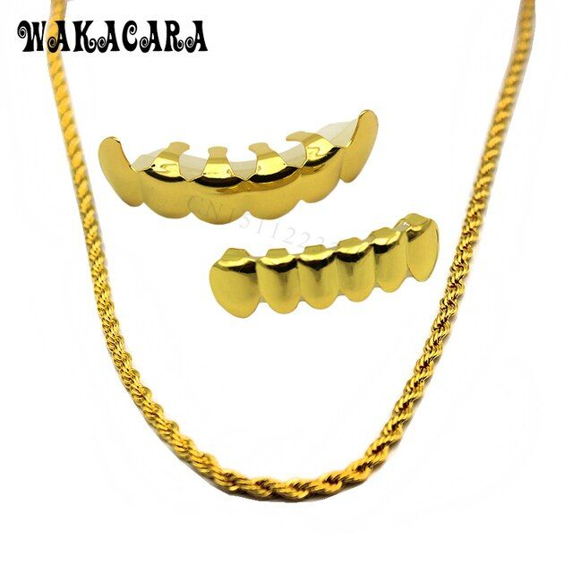 WAKACARA New  Gold Color Hip Hop Teeth Grillz Caps Top & Bottom Vampire Grill Set with 6mm Golden Rapper's Chain Necklace