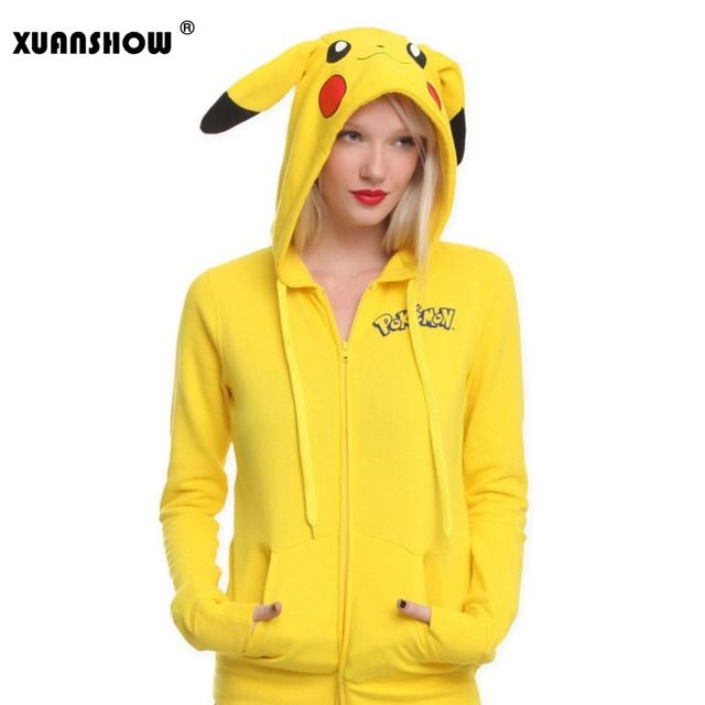 XUANSHOW Fashion Women Jacket Yellow Solid Pokemon Pikachu Printed Costume Tail Zip Totoro Hoodie Sweatshirt Sudaderas Mujer