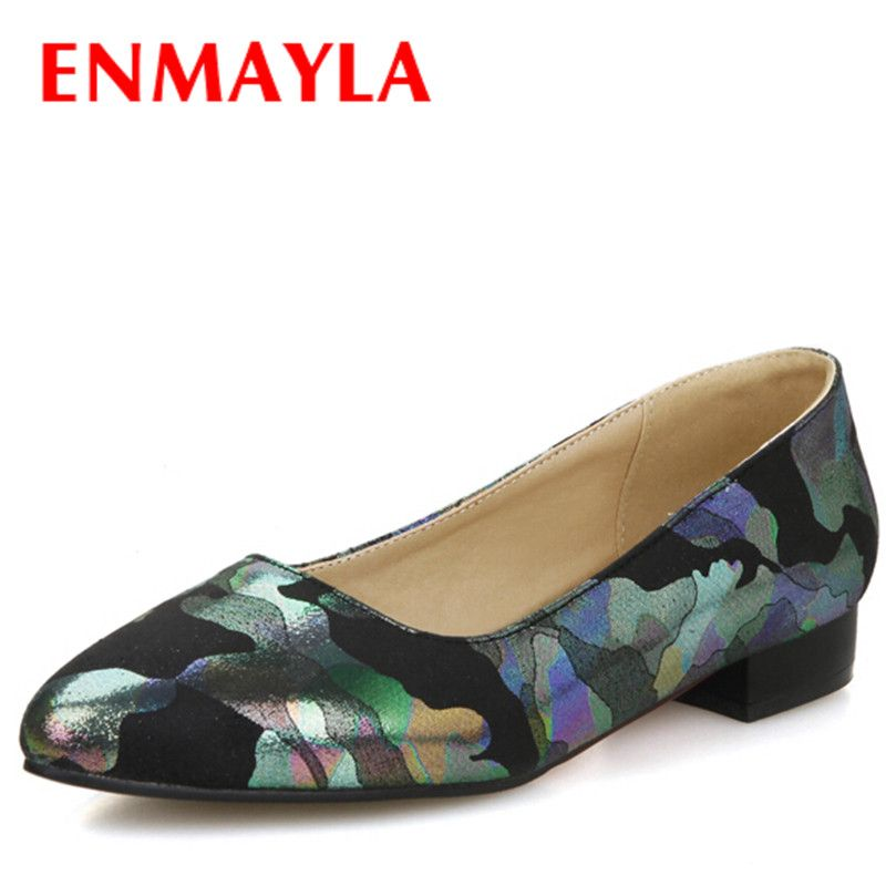 ENMAYLA Brand New Women Flats Shoes Pointed Toe Summer Flats Elegant Print Flowers Women's Casual Shoes Woman Summer Shoes