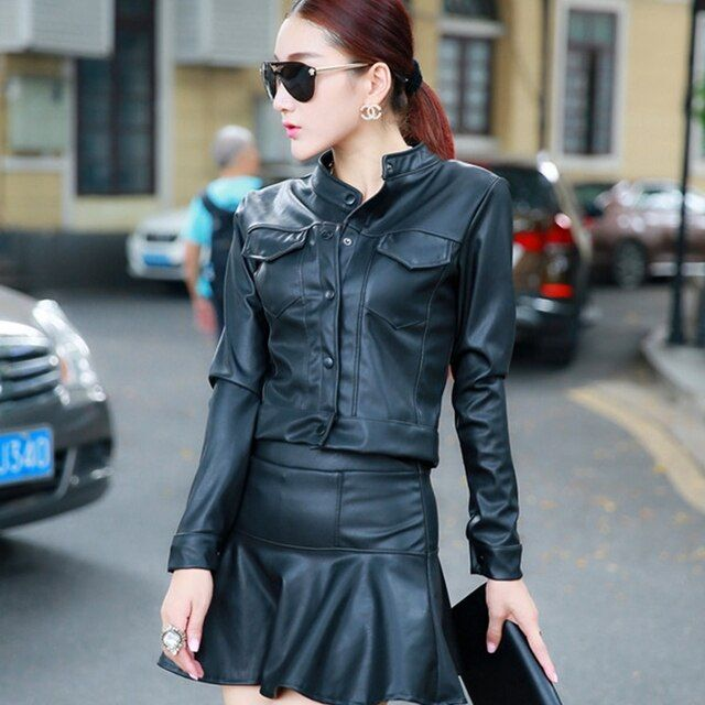 2016 Fashion Sexy two piece set women PU leather Cropped Top And Skirt female black pink Sexy suit ladies short skirt LX6025