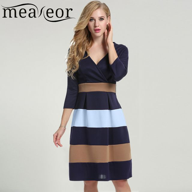 Meaneor Women Striped Dress for 2016 Autumn Summer New Fashion payty Vestidos Casual Sexy V-Neck 3/4 Sleeve Dress Size S-XXL