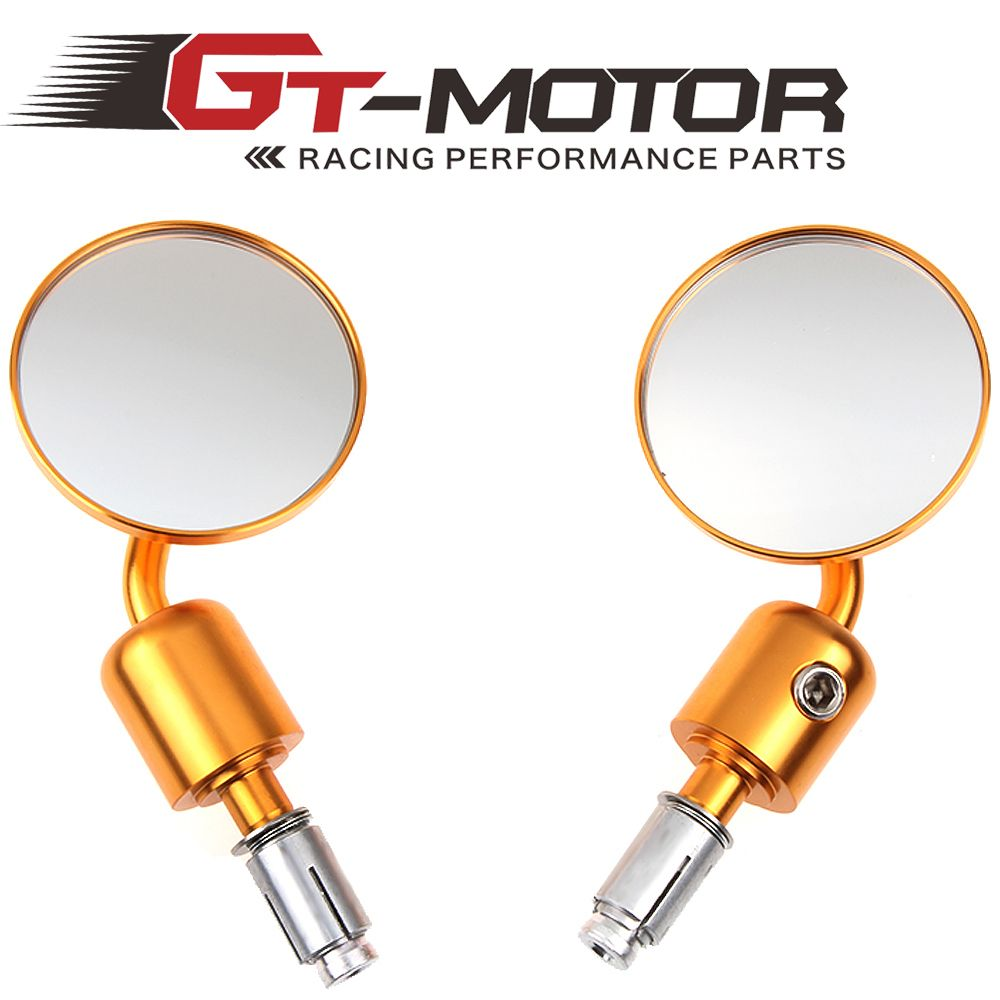 "GT Motor - High Quality Motorcycle 3"" Round Black 7/8"" Handle Bar End Mirrors Motorcycle Racer Aluminum Mirrors"